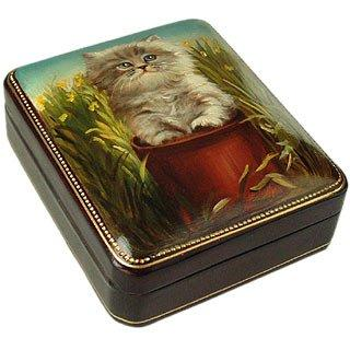 Bianchi Art Works  Persian Kitty - Oil on Leather Jewelry Box