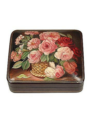 Flower Bouquet - Oil on Leather Jewelry Box - Bianchi Arte