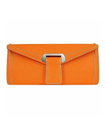 Orange Embossed Leather Envelope Clutch