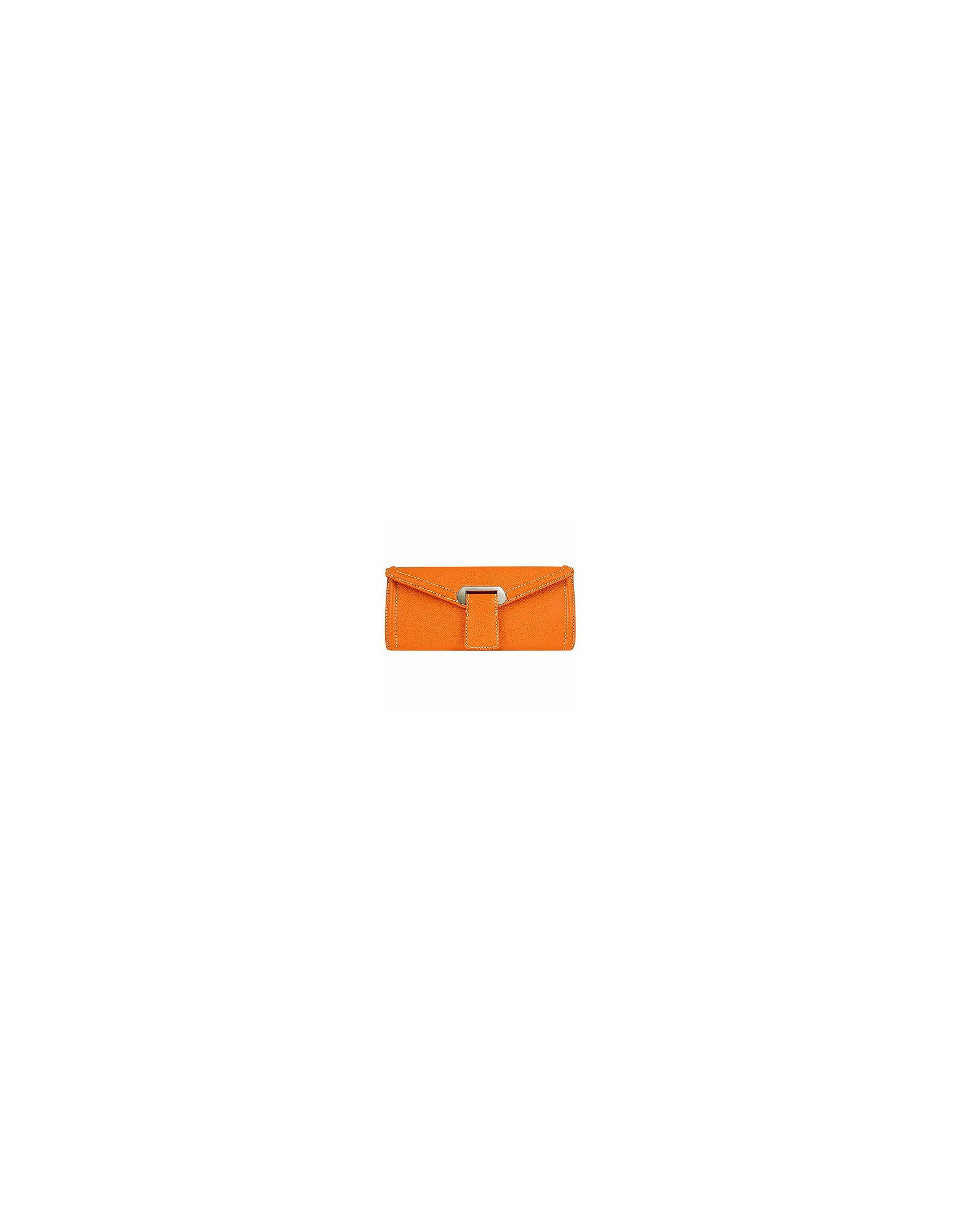 Pochette en cuir brocardé orange
