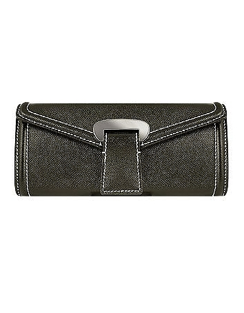 Black Embossed Leather Envelope Clutch