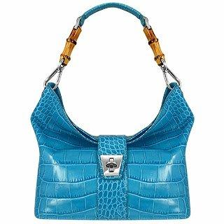 Buti Topaz Croco-embossed Leather & Bamboo Hobo Bag