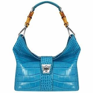 Buti Topaz Croco-embossed Leather & Bamboo Hobo Bag