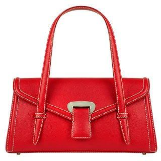 Buti  Red Embossed Leather Satchel Bag