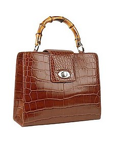 Brown Croco-embossed Leather Compact Tote Bag - Buti