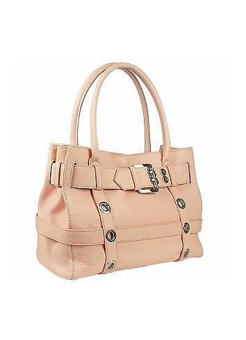 Pink Embossed Leather Buckled Satchel Bag - Buti