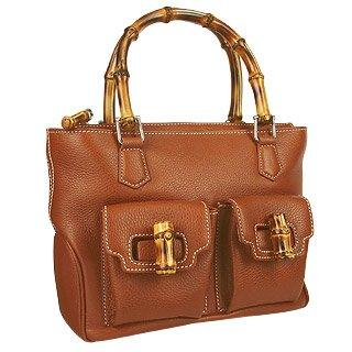Buti  Front Pockets Brown Leather Satchel Bag w/ Bamboo Handles