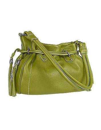 Green Tassel Drawstring Pebble Leather Satchel Bag