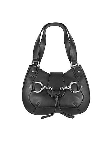 Buti - Black Horsebit Detail Italian Calf Leather Shoulder Bag