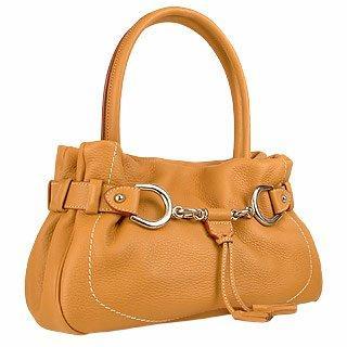 Camel Horsebit Detail Italian Pebble Leather Satchel Bag