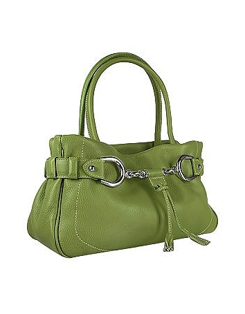 Buti - Horsebit Green Pebble Italian Leather Satchel Bag