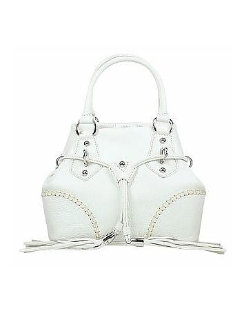 White Pebble Italian Leather Handbag