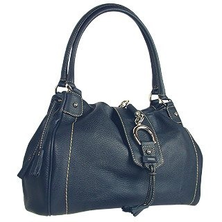 Buti Blue Pebble Italian Leather Horsebit Shoulder Bag