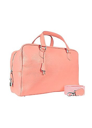 Pink Soft Calf Leather Medium Travel Bag - Buti