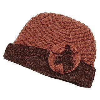 Brown Italian Handmade Knit Wool Skull Hat w/Flower - Forzieri