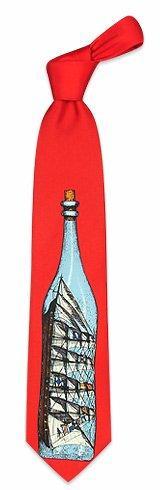 Fornasetti  Veliero in bottiglia - Red Printed Silk Tie
