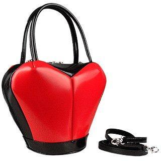 Foto der Handtasche Fontanelli Herzfoermige Handtasche aus poliertem italienischem Leder