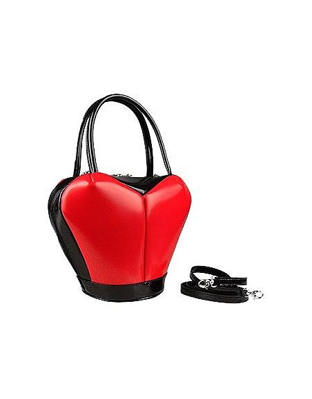 Fontanelli Herzförmige Handtasche aus poliertem italienischem Leder
