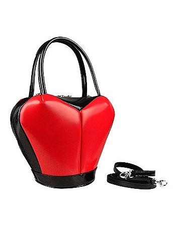 Fontanelli - Heart Shape Italian Polished Leather Handbag