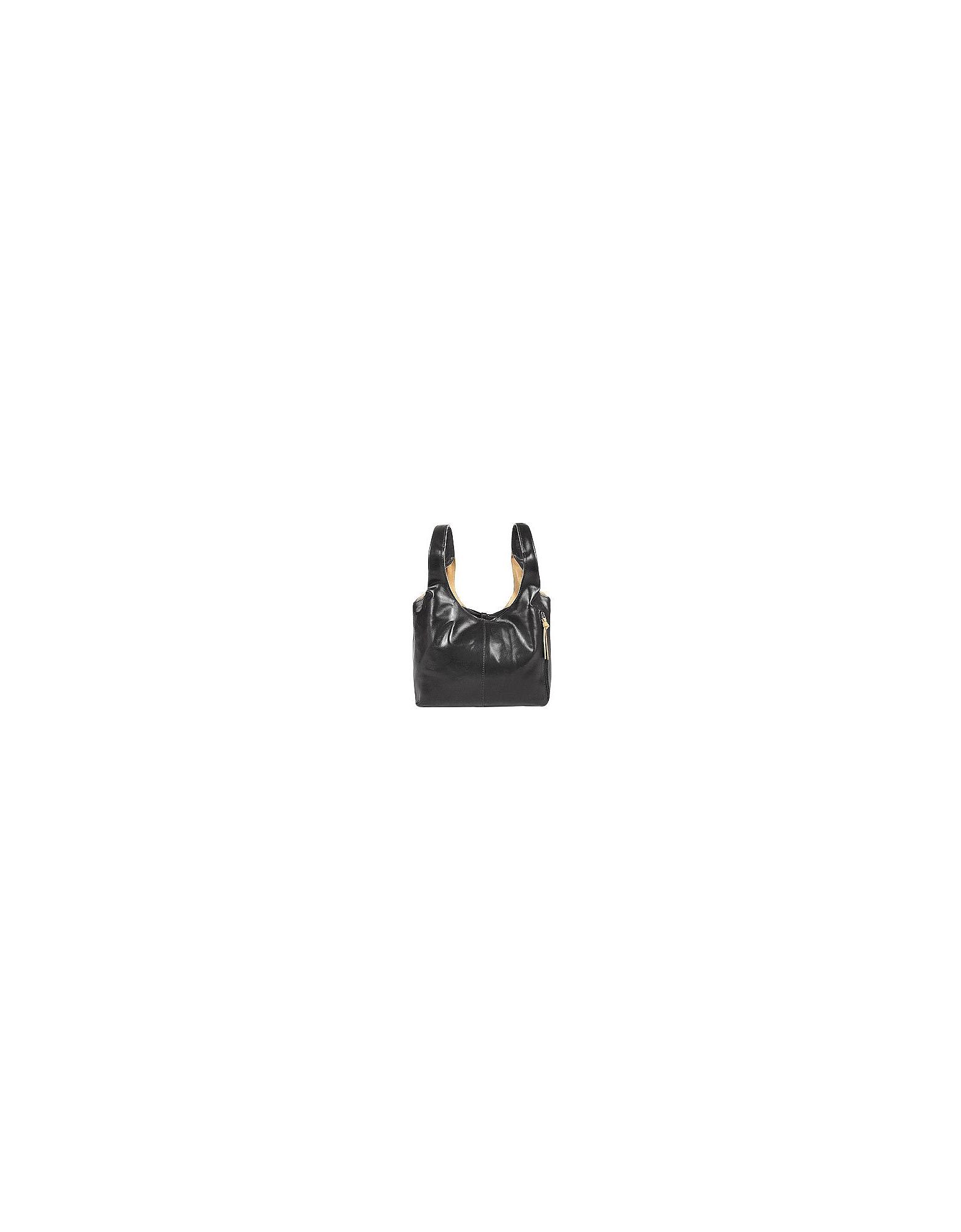 Fontanelli Handbags, Black & Tan Reversible Italian Leather Handbag
