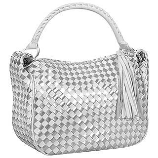 White & Silver Woven Leather Handbag - Fontanelli