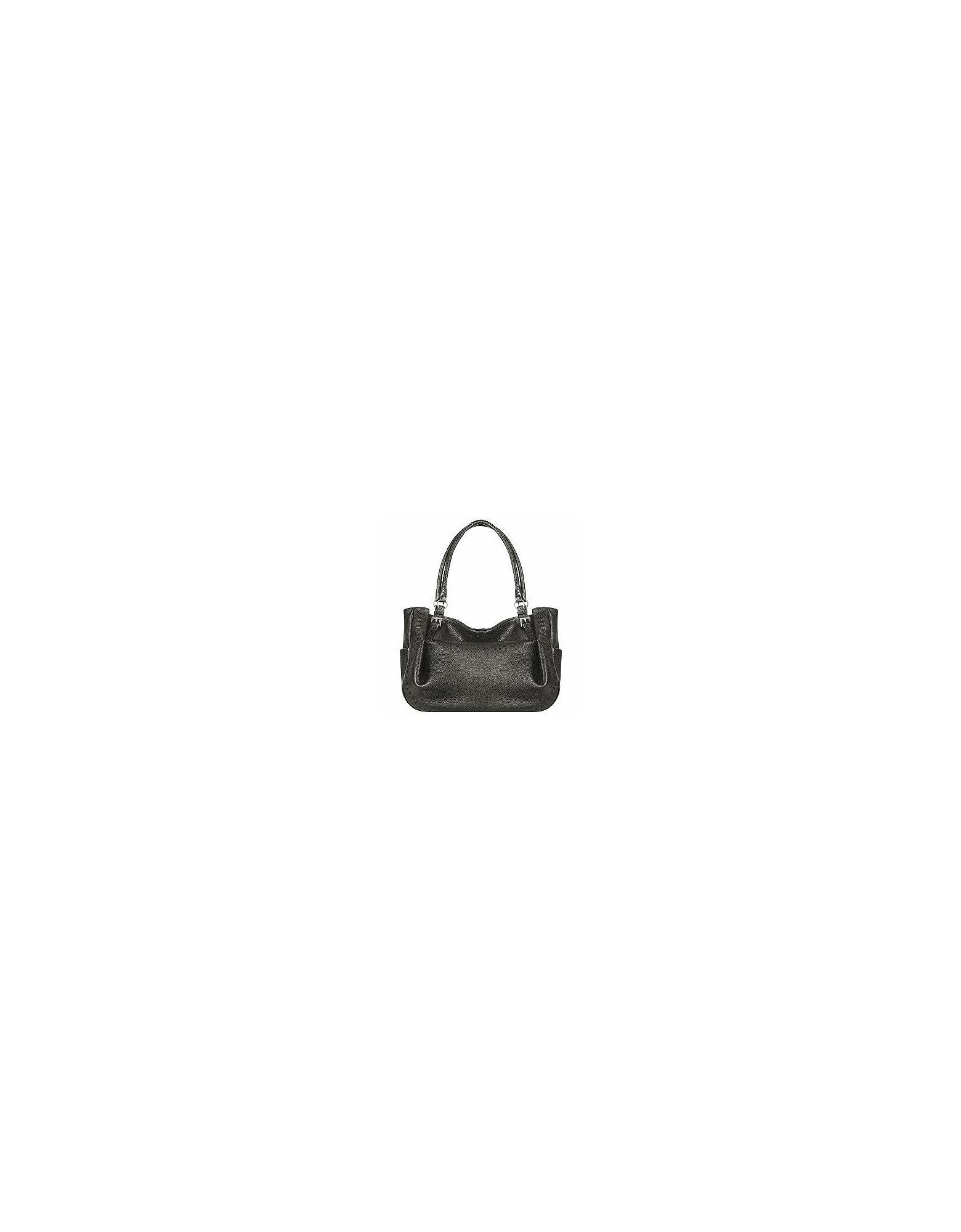 Fontanelli Handbags, Black Stitched Soft Leather Tote