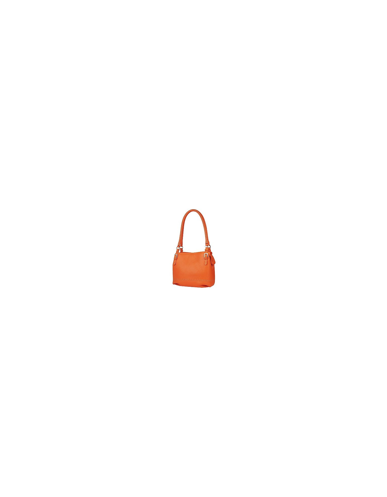 Fontanelli Designer Handbags, Orange Stiched Soft Leather Handbag