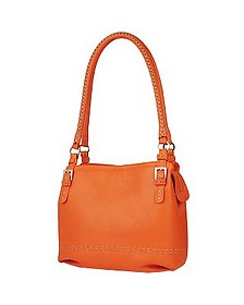Orange Stiched Soft Leather Handbag  - Fontanelli