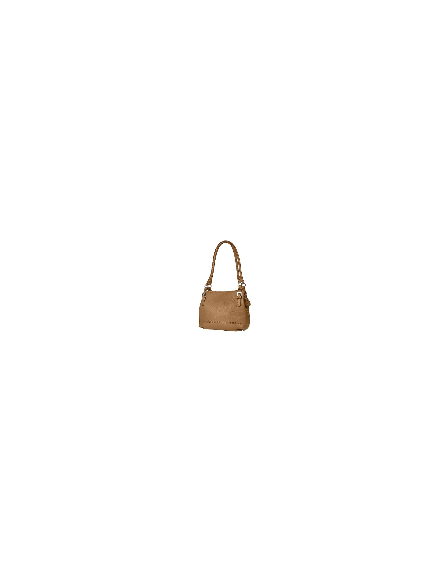 Fontanelli Handbags, Tan Brown Stiched Soft Leather Handbag