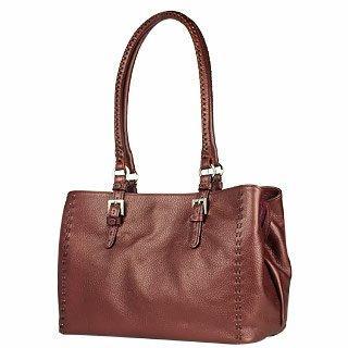 Foto der Handtasche Fontanelli Handtasche in metallisiertem Burgunderrot aus weichem Leder mit Ziernaehten