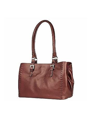 Fontanelli - Metallic Burgundy Stitched Soft Leather Satchel Bag