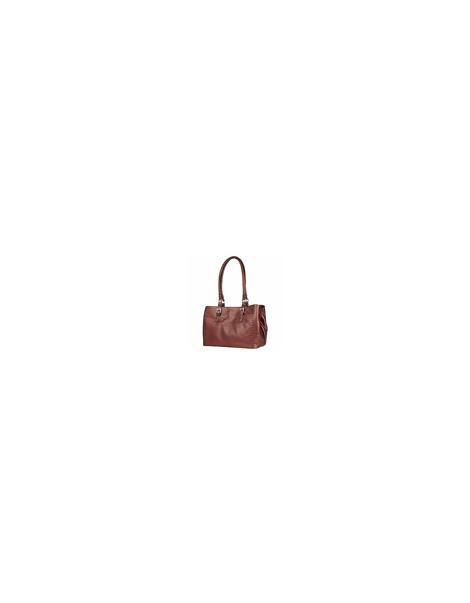 Fontanelli Handbags, Metallic Burgundy Stitched Soft Leather Satchel Bag