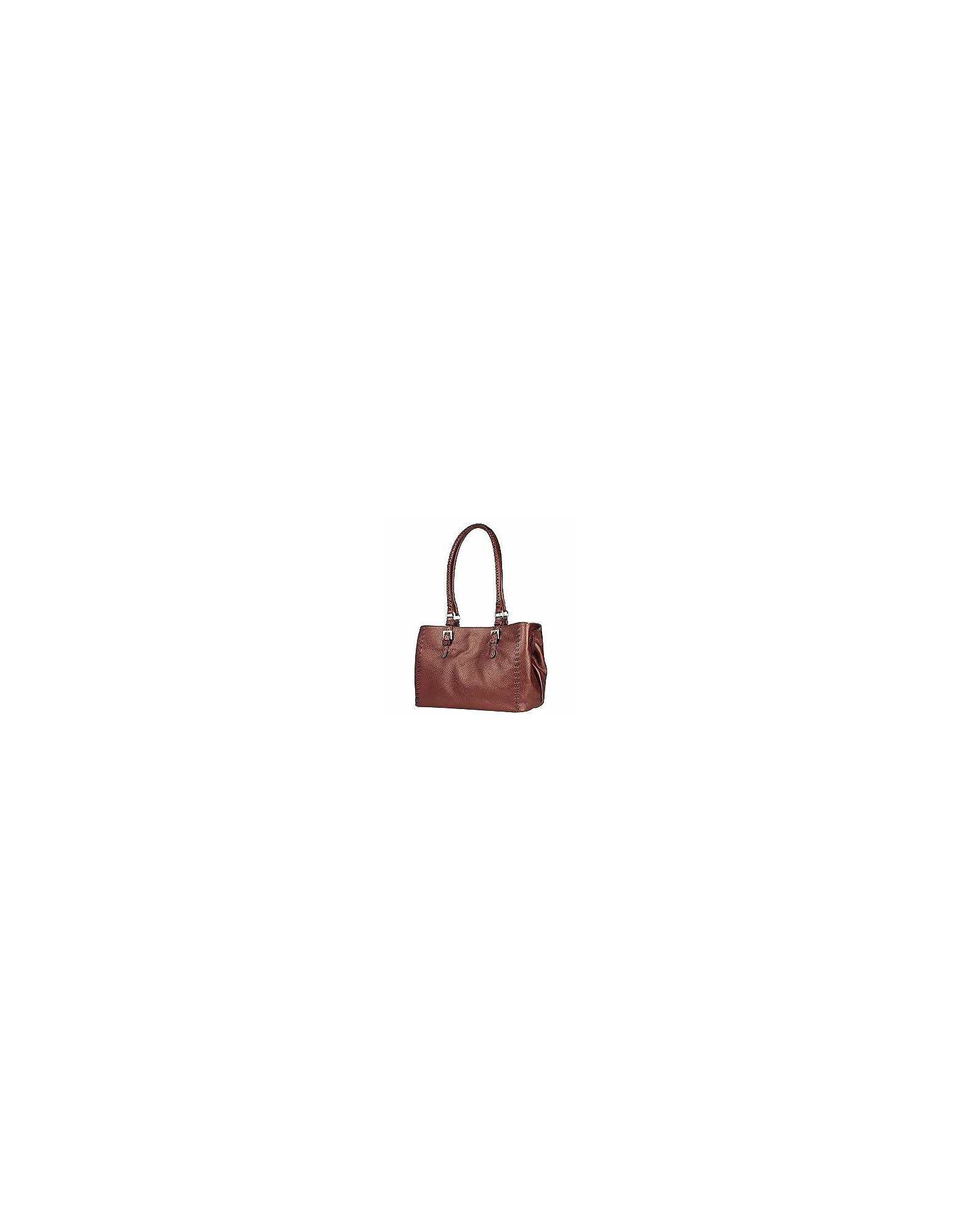 Fontanelli Handbags, Metallic Burgundy Stitched Soft Leather Satchel Bag