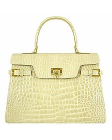 Shiny Sand Croco-style Leather Handbag - Fontanelli