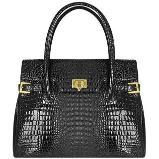 Fontanelli Black Shiny Croco-style Leather Large Satchel Bag