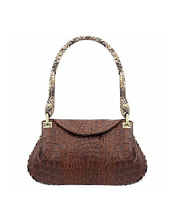 Brown Croco-embossed Leather Flap Bag w/Python Trim