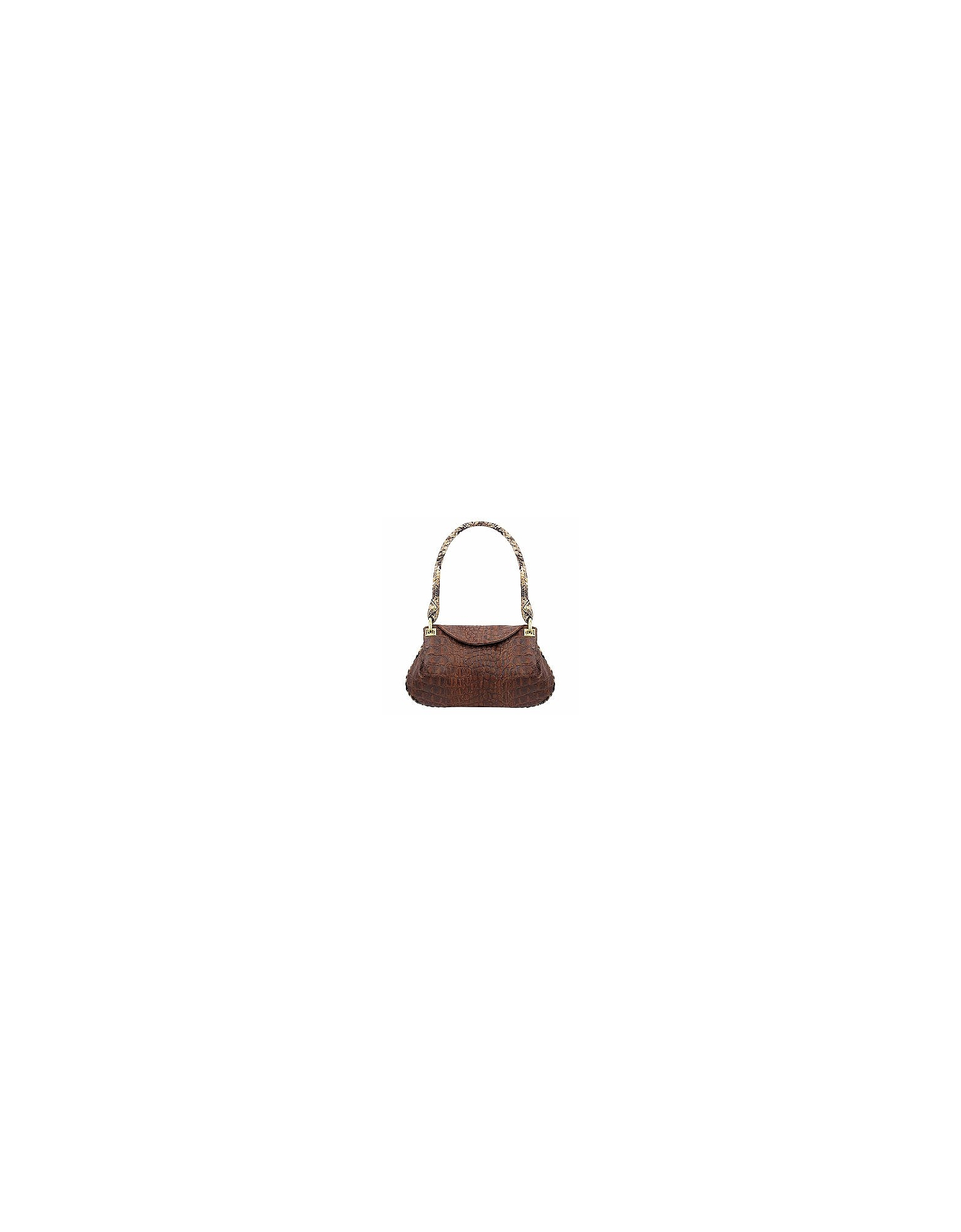 Fontanelli Handbags, Brown Croco-embossed Leather Flap Bag w/Python Trim