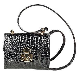 Small Croc-embossed Leather Handbag - Fontanelli