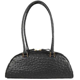 Black Stamped Italian Leather Bag