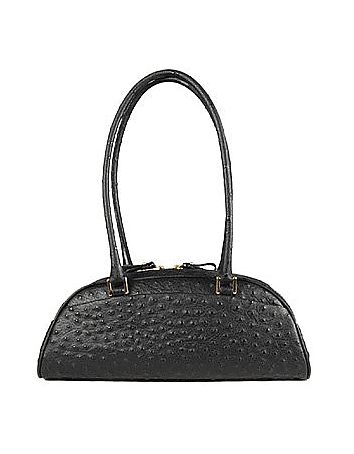 Fontanelli - Black Stamped Italian Leather Bag