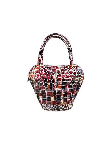 Fontanelli Mehrfarbige Handtasche aus geprägtem italienischem Leder