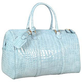 Shiny Sky Blue Croco Leather Travel Bag - Fontanelli
