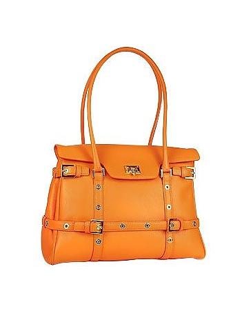 Orange Buckled Calf Leather Satchel Bag