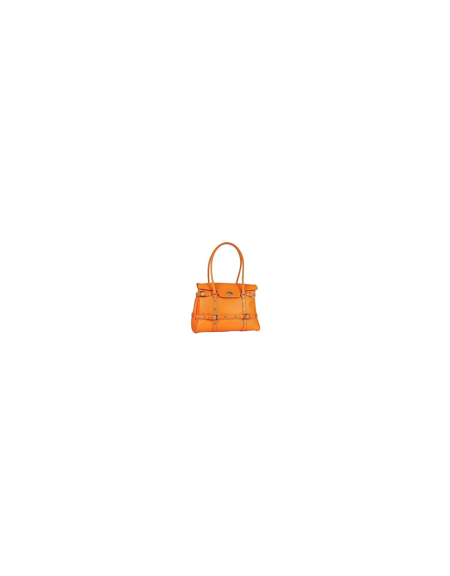Fontanelli Handbags, Orange Buckled Calf Leather Satchel Bag