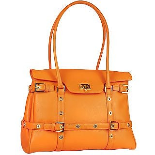 Orange Buckled Calf Leather Satchel Bag - Fontanelli