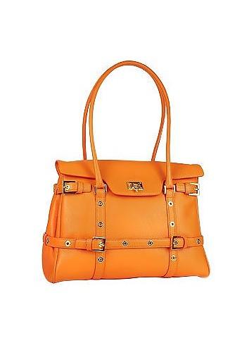 Orange Buckled Calf Leather Satchel Bag - Fontanelli