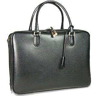 Image of Black Lizard-print Calf Leather Briefcase