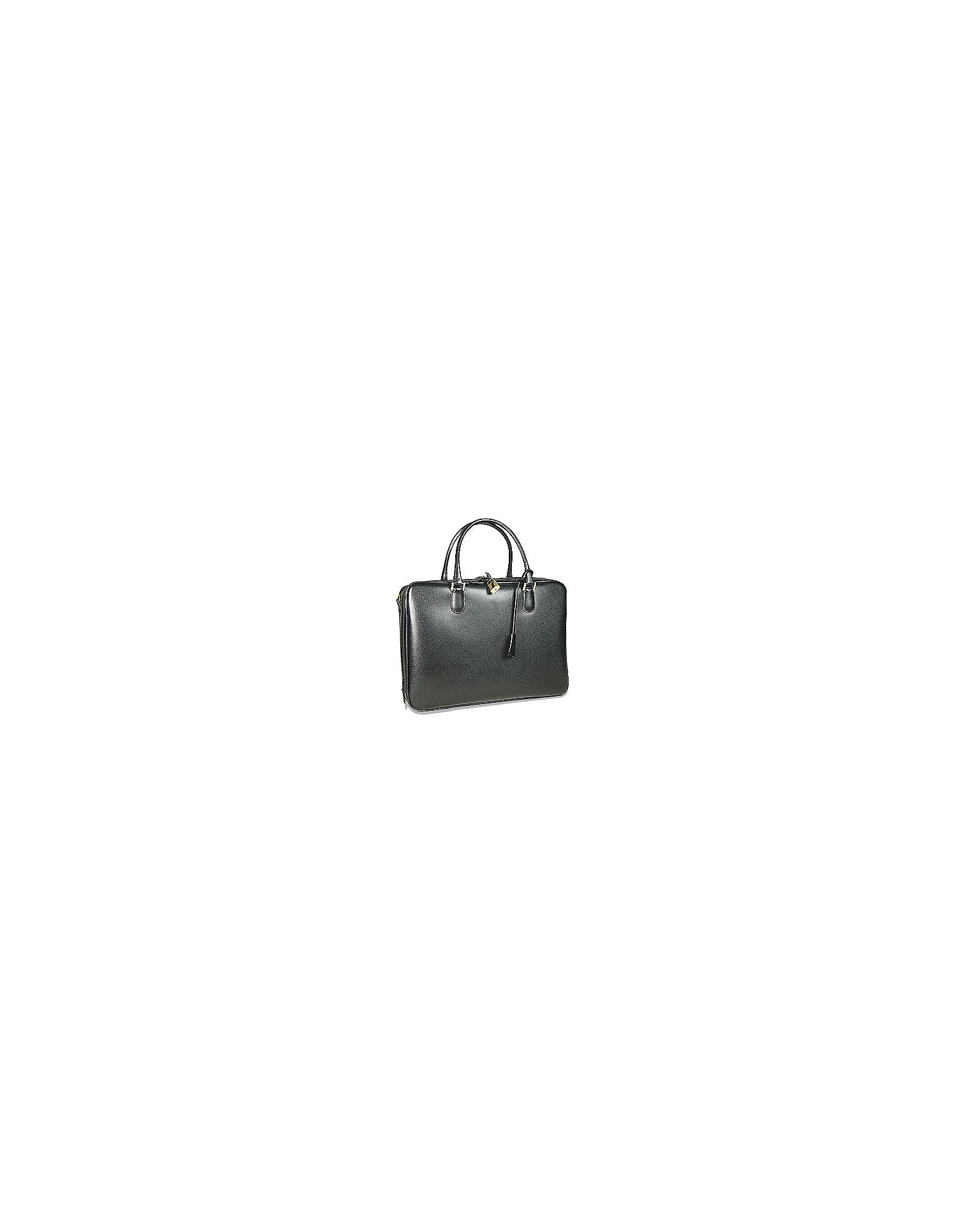 Fontanelli Designer Briefcases, Black Lizard-print Calf Leather Briefcase