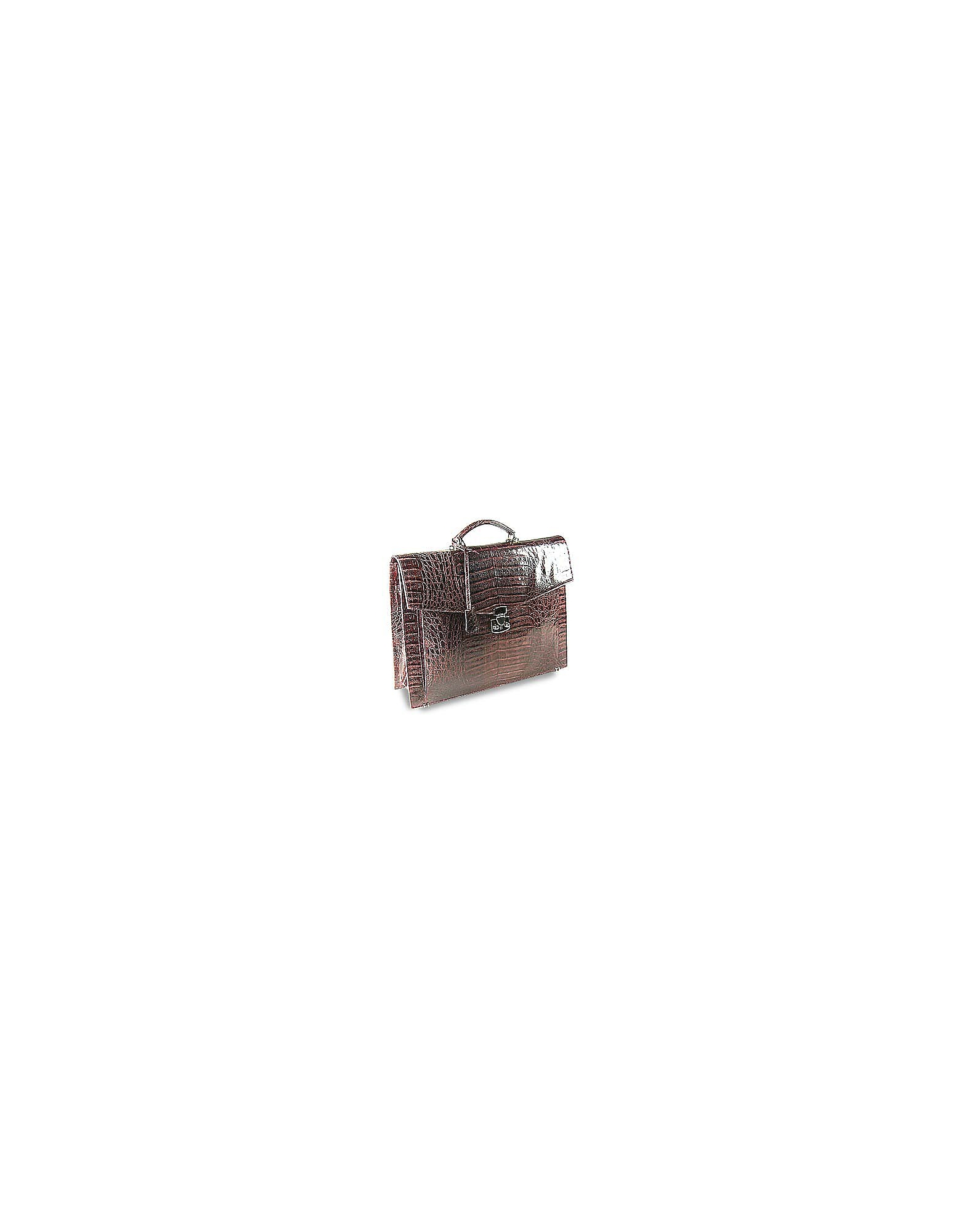 Fontanelli Designer Briefcases,  Brown Croc-Embossed Leather Briefcase