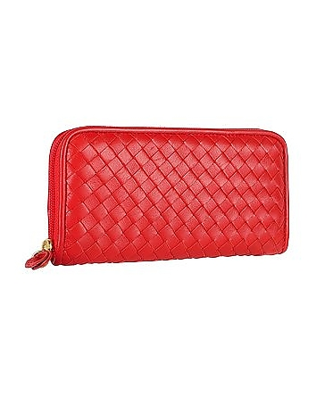 Fontanelli - Women's Red Italian Woven Leather Concertina Zip Wallet